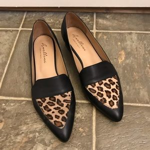 Leather and Leopard Pattern Loafers